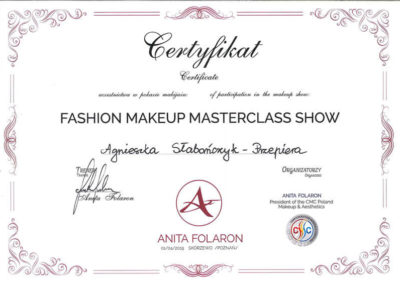 Fashion Makeup Masterclass Show Agnieszka Słabończyk Przepiera Certyfikat