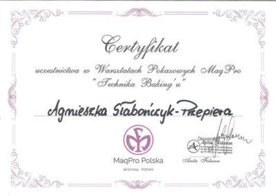 MaqPro Technika Bakingu Agnieszka Słabończyk Przepiera Certyfikat