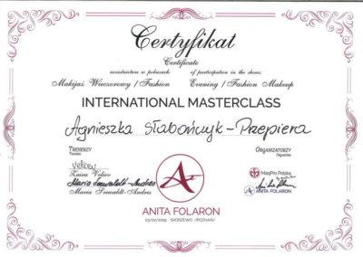 Wieczorowy Fashion International MaserClass Agnieszka Słabończyk Przepiera Certyfikat